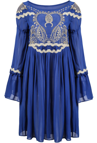 Blue Long Sleeve Lace Embroidered Pleated Dress
