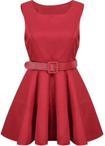 Red Sleeveless Belt Pleated Dress