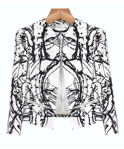 White Black Graffiti Print Zipper Crop Blazer
