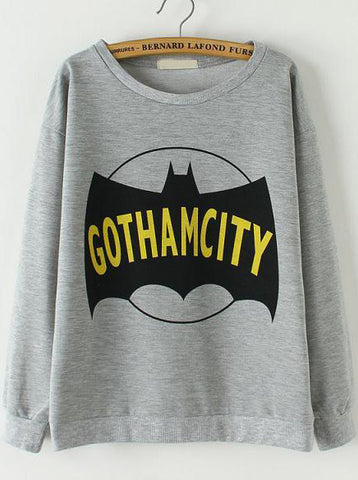 Grey Long Sleeve Batman Print Loose Sweatshirt