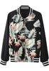 Black Stand Collar Long Sleeve Leaves Print Jacket