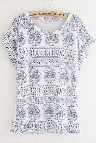Blue Short Sleeve Vintage Totem Print T-Shirt