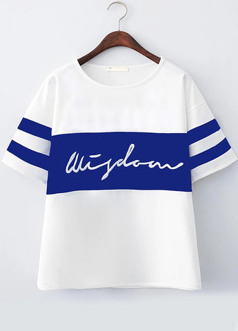 White Short Sleeve Striped Letters Print T-Shirt