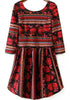 Red and Black Striped and Rose Print Dress
