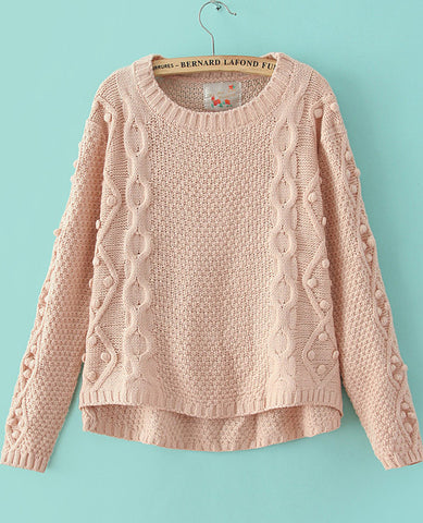 Pink Long Sleeve Geommetric Knitting High Low Sweater