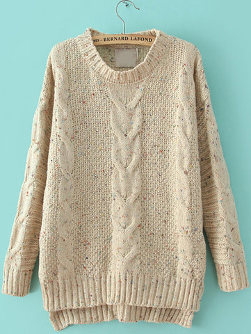 Beige Cable Knitting Rib Hem High Low Sweater