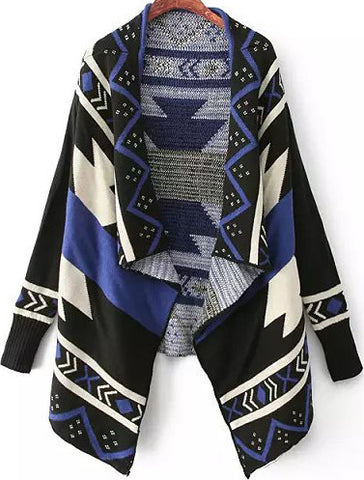 Blue and Black Draped Front Geommetric Cardigan