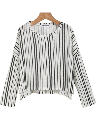 Black White Vertical Stripe Loose T-Shirt