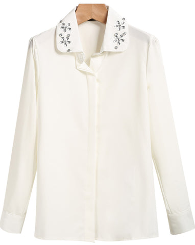 White Lapel Long Sleeve Rhinestone Blouse