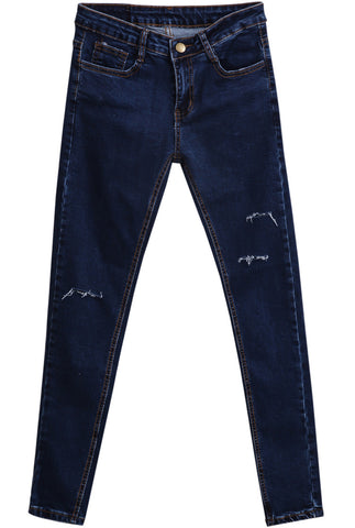 Navy Pockets Cut Ripped Denim Pant