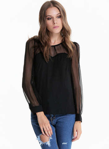 Black Contrast Mesh Yoke Long Sleeve Blouse