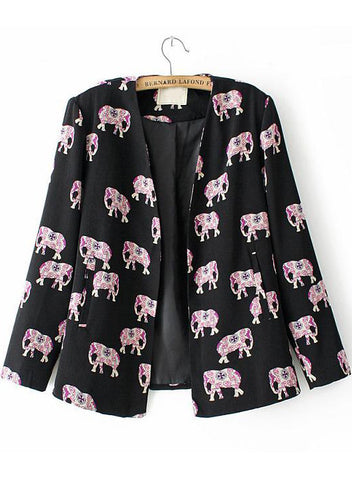 Black Long Sleeve Elephants Print Fitted Blazer