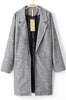 Grey Notch Lapel Long Sleeve Pockets Blazer
