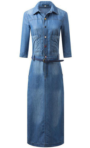 Blue Lapel Half Sleeve Pockets Denim Dress