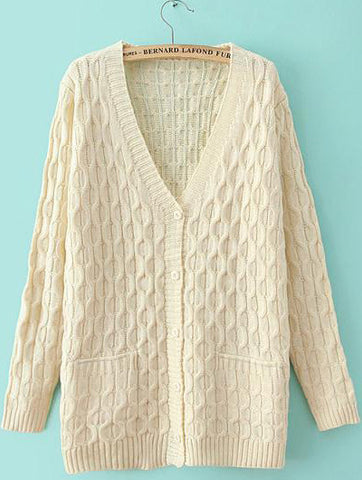 Beige V Neck Long Sleeve Cable Knit Sweater