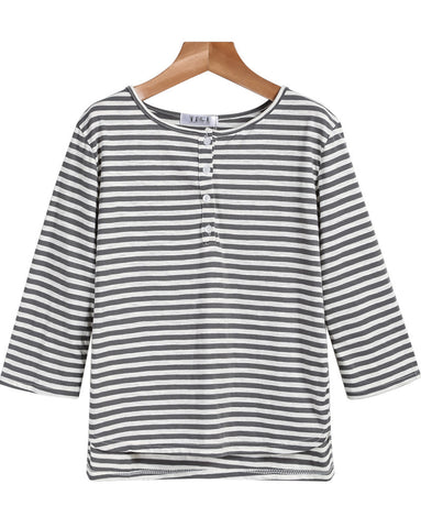 Grey White Long Sleeve Striped Loose T-Shirt
