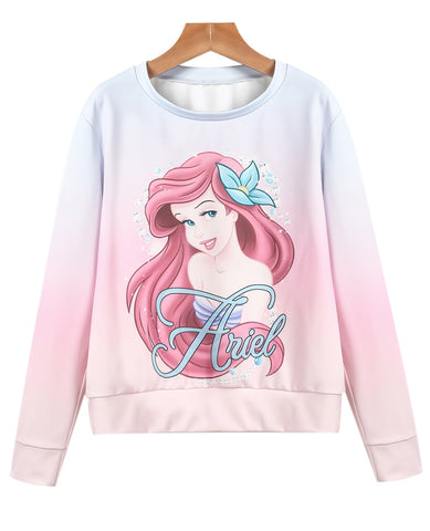 Pink Long Sleeve Girl Print Sweatshirt