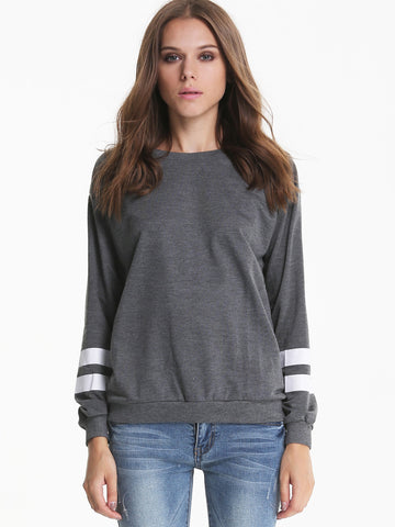 Grey Contrast White Long Sleeve Loose Sweatshirt