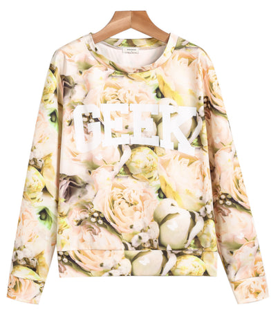 Yellow Long Sleeve Floral GEEK Print Sweatshirt