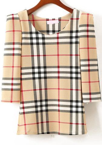 Yellow Half Sleeve Plaid Slim Blouse