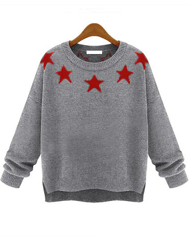 Grey Long Sleeve Stars Print Knit Sweater