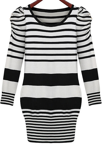 Black White Long Sleeve Striped Bodycon Dress