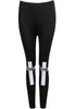 Black Slim Letters Cross Print Leggings