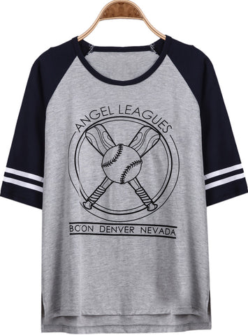 Grey Half Sleeve Baseball Print Loose T-Shirt
