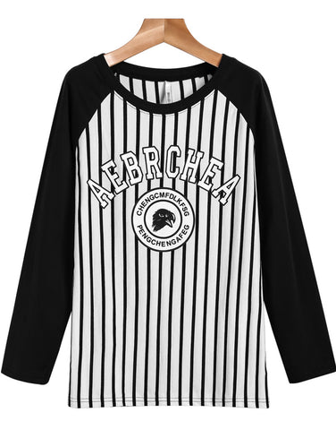 White Long Sleeve Vertical Stripe Letters Print T-Shirt