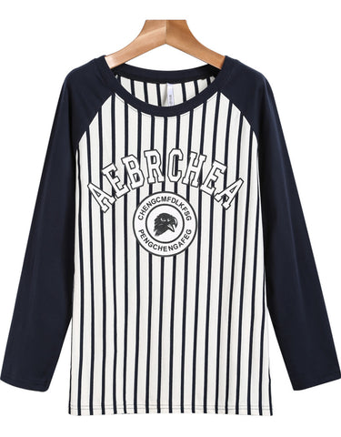 Navy Long Sleeve Vertical Stripe Letters Print T-Shirt