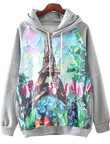 Grey Long Sleeve Hooded Tower Print Sweatshirt