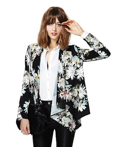 Black Long Sleeve Floral Print Asymmetric Blazer