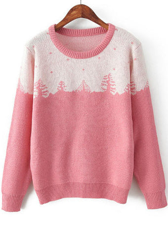 Pink Long Sleeve Christmas Tree Pattern Sweater