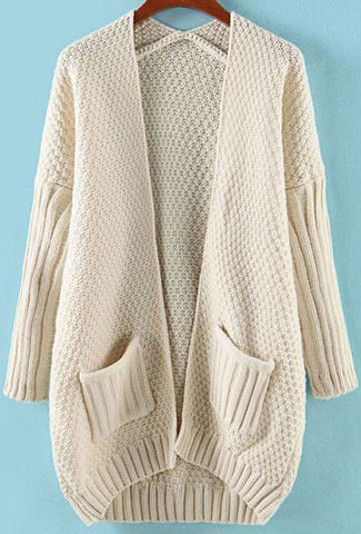 Beige Batwing Long Sleeve Pockets Knit Cardigan