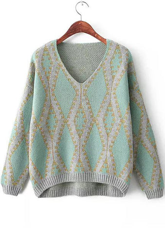 Green V Neck Long Sleeve Geometric Pattern Sweater