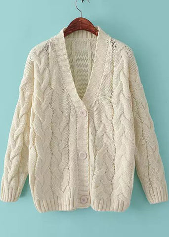 Beige V Neck Long Sleeve Chunky Cable Knit Cardigan