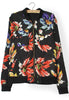 Black Long Sleeve Floral Loose Jacket