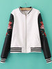 White Long Sleeve Embroidered PU Leather Jacket