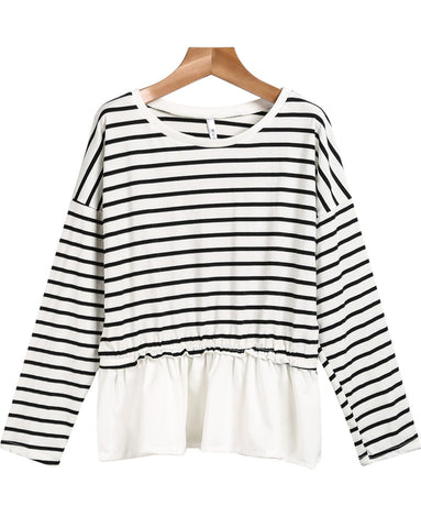 Black White Long Sleeve Striped T-Shirt