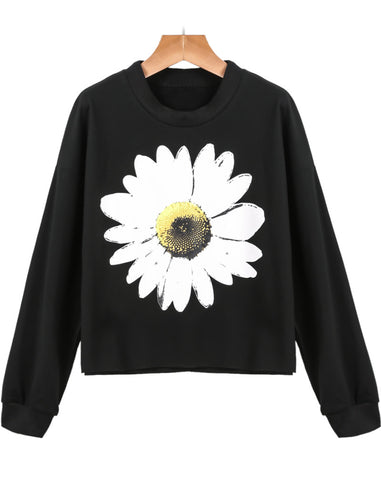 Black Long Sleeve Daisy Print T-Shirt