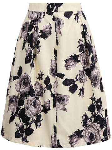 Yellow High Waist Rose Print Skirt