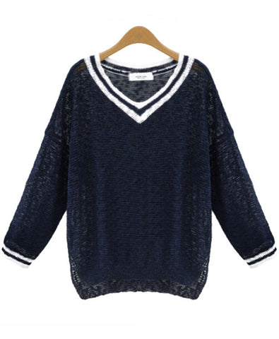 Navy V Neck Long Sleeve Striped Knit Sweater