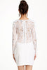 White Long Sleeve Lace Slim Bodycon Dress