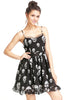 Black Spaghetti Strap Skull Print Chiffon Dress