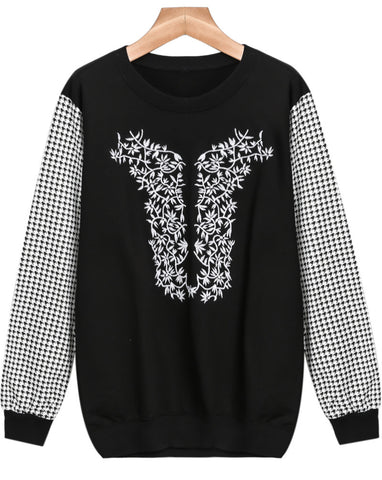Black Contrast Houndstooth Embroidered Sweatshirt