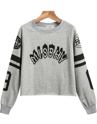 Grey Long Sleeve Letters Print Crop Sweatshirt