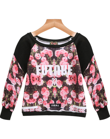 Black Long Sleeve Floral Letters Print T-Shirt