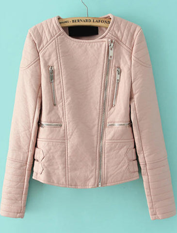 Pink Long Sleeve Zipper Crop PU Leather Jacket