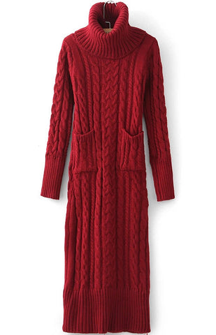 Red High Neck Pockets Cable Knit Dress