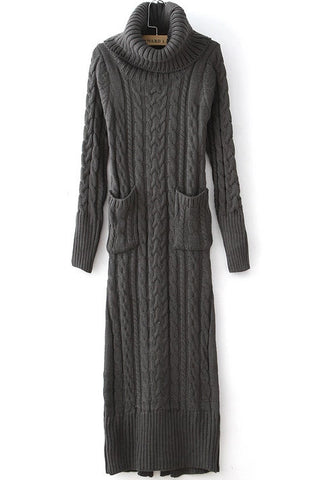 Grey High Neck Pockets Cable Knit Dress